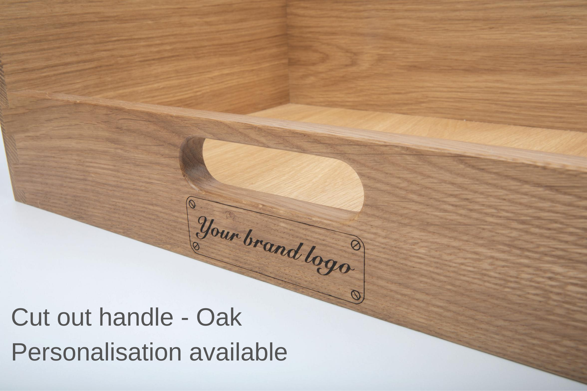Cut out handle in oak with personalisation