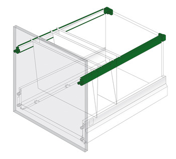 Adaptor Railing for Filing Drawers, for use with Rectangular Divider Railing Set