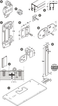Additional Centre Hinge, for Folding Cabinet Doors, Hawa-Multifold 30/W