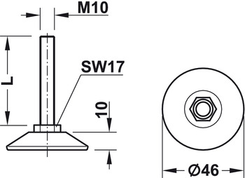 Adjusting Screw, M10 Thread with Fixed Foot