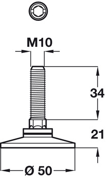 Adjusting Screw with Fixed Foot Length 34mm Galvanized Steel