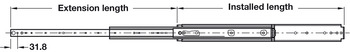 Ball Bearing Drawer Runners, Full Extension, Load Capacity 182-272 kg, Accuride 9301