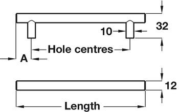 Bar Handle, Steel, Ø 12 mm, Fixing Centres 96-758 mm, Barkston