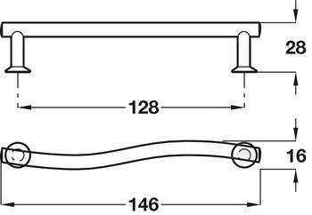 Bar Handle, Zinc Alloy, Fixing Centres 128 mm, Kyle