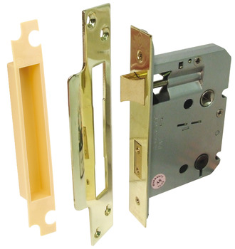 Bathroom Lock, Latchbolt Operated by Lever Handles, Deadbolt Operated by Turn/Emergency Release, Qube