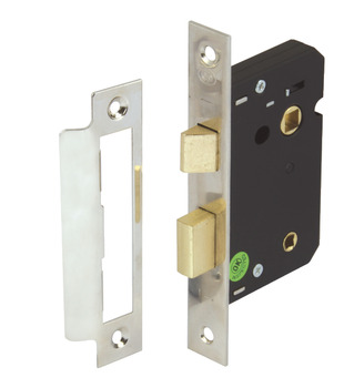 Bathroom Lock, Mortice, Latchbolt Operated by Lever Handles, Deadbolt by Turn/Emergency Release