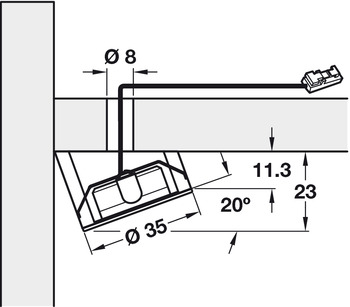 Bezel, for Surface Mounting Loox LED 2022, Angle 20 °, Wedge