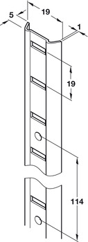 Bookcase Strip, Universal 'M', Inlaid or Surface Mounted, for Commercial Bookcases and Shelving