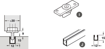 Bottom Channel, for Sliding Interior Doors, Hawa-Junior/Foldaside
