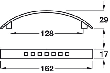 Bow Handle, Zinc Alloy, Fixing Centres 128 mm, Antrobus