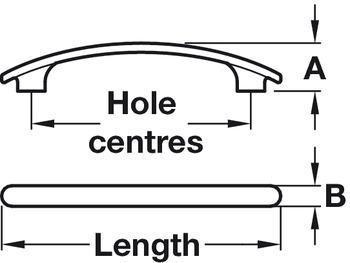 Bow Handle, Zinc Alloy, Fixing Centres 64-288 mm, Hudson