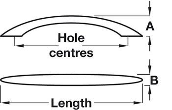 Bow Handle, Zinc Alloy, Fixing Centres 96-192 mm, Manila