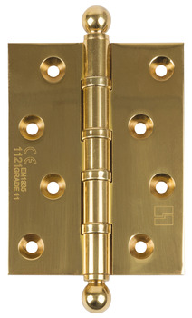 Butt Hinge, Ball Finial, 100 x 75 mm, Brass