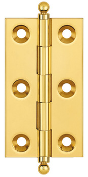 Butt Hinge, Ball Finial, 63 x 35 mm, Brass