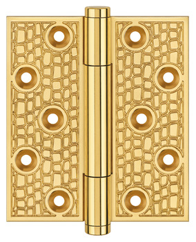 Butt Hinge, Concealed Bearing, 100 x 75 mm, Gator Reflection Pattern, Brass