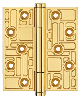 Butt Hinge, Concealed Bearing, 100 x 88 mm, Recurring Rectangles Pattern, Brass