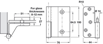 Butt Hinge, for Glass Doors, Lift Off, 100 x 44/76 mm, Steel and Aluminium