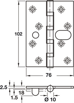 Butt Hinge, Security, 102 x 76 mm, 304 Stainless Steel, Phoenix Slimline