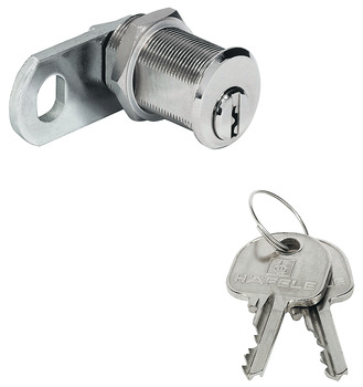 Cam Lock, with Pin Tumbler Cylinder, with Straight Cam and Nut Attachment, Thread Max. 21 mm