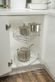 Carousel Shelves, Chrome Wire, Half Circle, for Min. Door Width 420 mm
