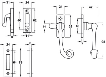 Casement Fastener, with Mortice and Hook Plates, Reversible, Iron
