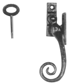 Casement Fastener, with Wedge Plate and Key, Handed, Malleable Iron, Kirkpatrick