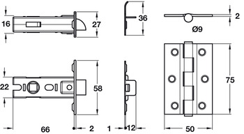 CE7 Mortice Latch Bolt, with 3 Hinge Pack