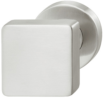 Centre Door Knob, Fixed, Square, on Round Rose, 304 Stainless Steel, HL17, Häfele