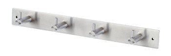 Coat Hook Rail, with 4 Hooks, Stainless Steel, 42 x 36 mm