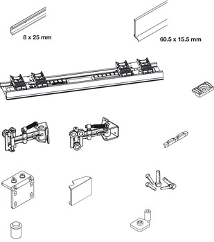 Complete Fitting Set, for Sliding Cabinet Doors, Eku Frontino 20 H OS FS