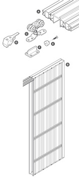 Complete Set, for 1 Door, for Sliding Interior Pocket Doors, Slido 80-B