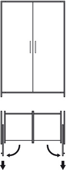 Complete Set, for Pivot Sliding Cabinet Doors, Finetta Spinfront 30/50
