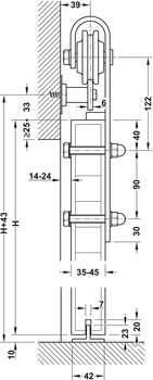 Complete Set, for Sliding Interior Doors, Slido Design 100-S