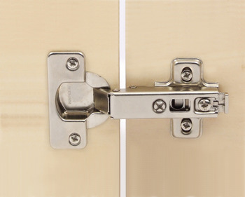 Concealed Cup Hinge, 110°, Full Overlay Mounting, Quick Snap Clip On Arm, Steel
