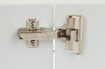 Concealed Cup Hinge, 110° Integrated Soft Close, Half Overlay Mounting, with Cam Adjustment, Häfele