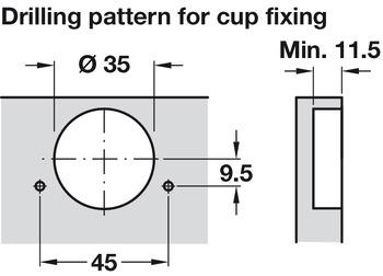 Concealed Cup Hinge, 110° Standard, Full Overlay Mounting, with Standard Depth Adjustment, Häfele