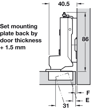 Concealed Cup Hinge, 95° Standard, for Up to 28 mm Thick Doors, Inset Mounting, Click on Arm, Tiomos