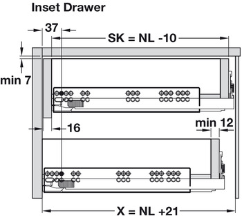 Concealed Drawer Runners, Full Extension, Bulk Packed, Dynapro 70 kg