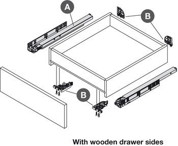 Concealed Drawer Runners, Full Extension, Packed Set with 4D Fixing Clips, Dynapro 70 kg