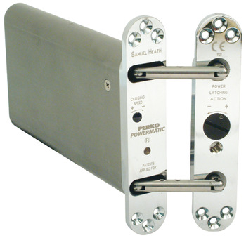 Concealed jamb door closer, Concealed Hydraulic, with Latch Action, Perko Powermatic