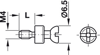 Connecting Bolt, with M4 Thread, for Ø 5 mm Holes, Rafix