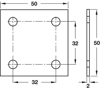 Connecting Plate, Screw Fixing, with Four Screw Holes, Steel