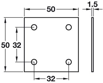 Connecting Plate, Square, Screw Fixing