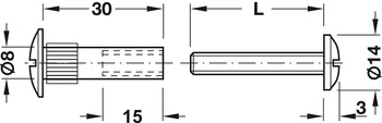 Connecting Screw, 2-Piece, with Sleeve and with Combi Slot, M6 Thread