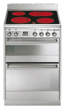 Cooker, Ceramic, with Double Oven, 600 mm, Smeg Concert