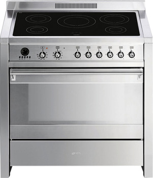Cooker, Electric Induction, with Multifunction Pyrolitic Oven, 900 mm, Smeg Opera