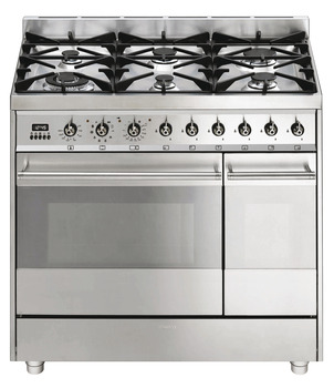 Cooker, Gas, Dual Cavity with Multifunction Pyrolitic Oven, 900 mm, Smeg Symphony