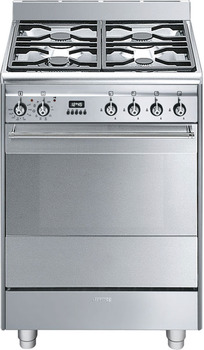 Cooker, Gas, with Multifunction Pyrolitic Oven, 600 mm, Smeg Concert