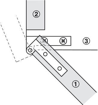 Corner Pivot Hinge, 250° Without Stop, Straight Outer Knuckle