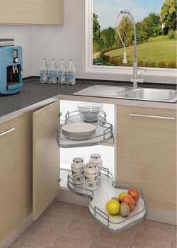 Corner Pull Out Shelving Unit, White and Grey Wooden Trays with Chrome Railing, for Cabinet Widths 800-1000 mm, Nuvola